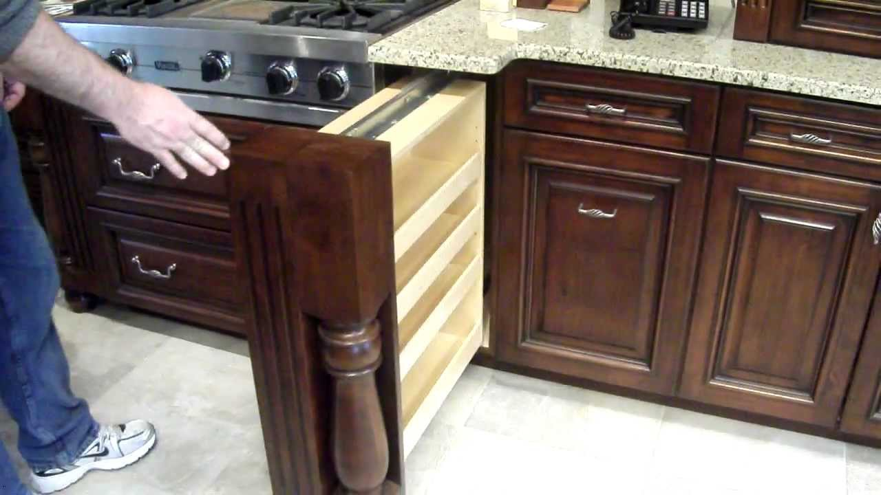 Hide Kitchen Trash Can Countertop Options Hidden Spice Rack In Custom Cabinet - Youtube