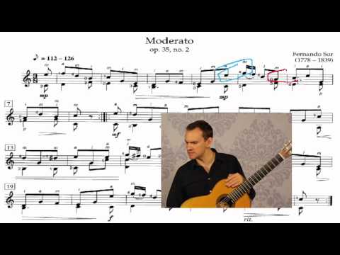 Full Lesson on Fernando Sor Guitar Moderato (op.35, no.2)
