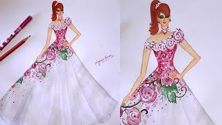 How to draw a beautiful gown step by step