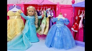 American Girl Doll Disney Princess Closet Tour!
