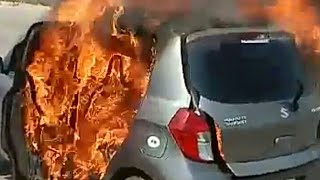 Fire accident on hyderabad outer ring road  | car burning on road