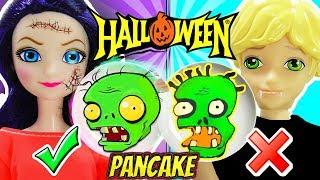 Pancake Art Challenge HALLOWEEN | Marinette y Adrien juegan PLANTAS contra ZOMBIES