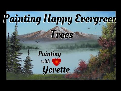 How to Paint Happy Evergreen Trees, Pt 2, Oil Painting Techniques With Yovette