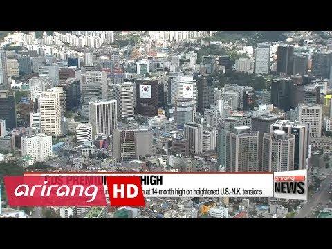 S. Korea's 5-yr credit default swap premium at 14-month high on heightened U.S.-N.K. tensions