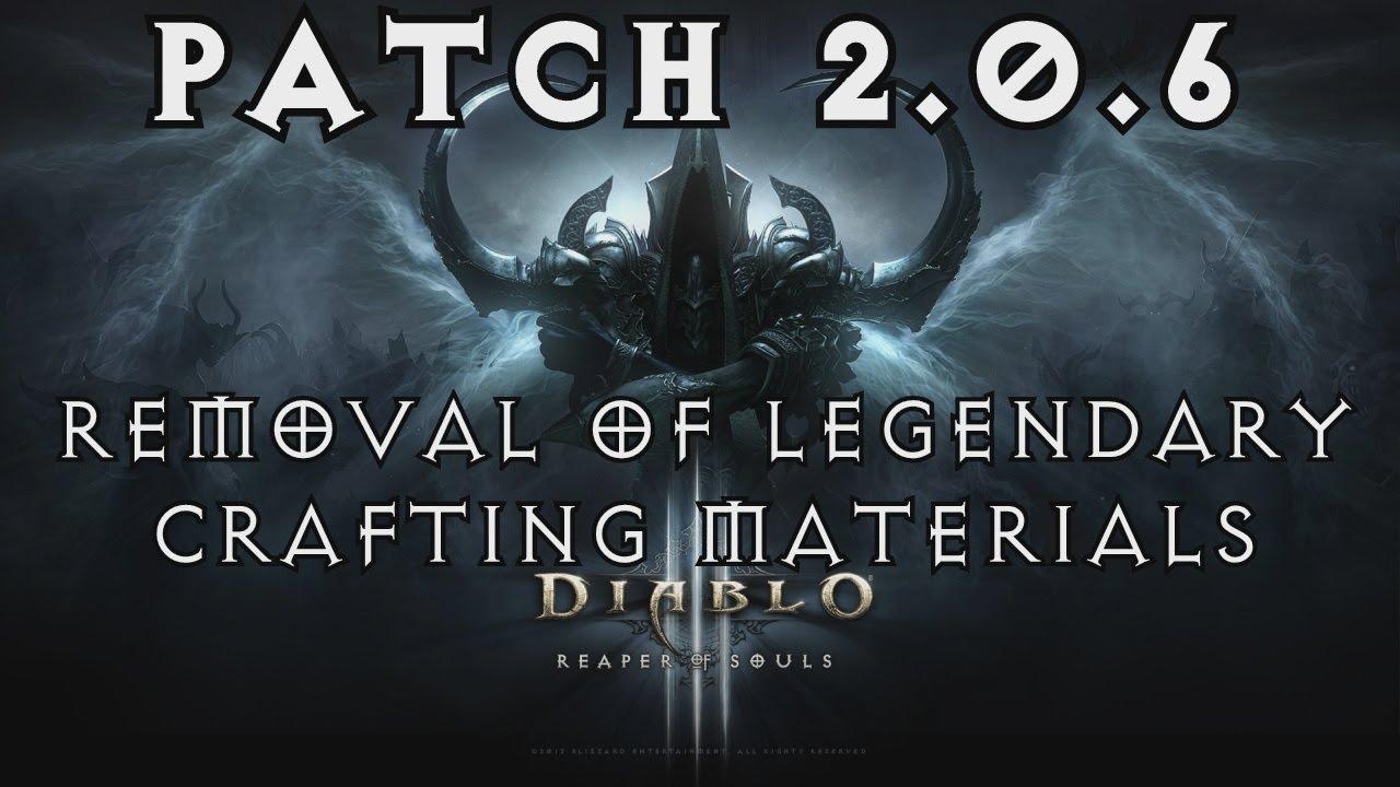 Diablo  Legendary Crafting Materials Removed
