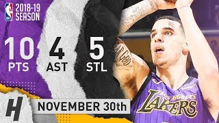 Lonzo Ball Full Highlights Lakers vs Mavericks 2018.11.30 - 10 Pts, 4 Ast, 5 Steals!