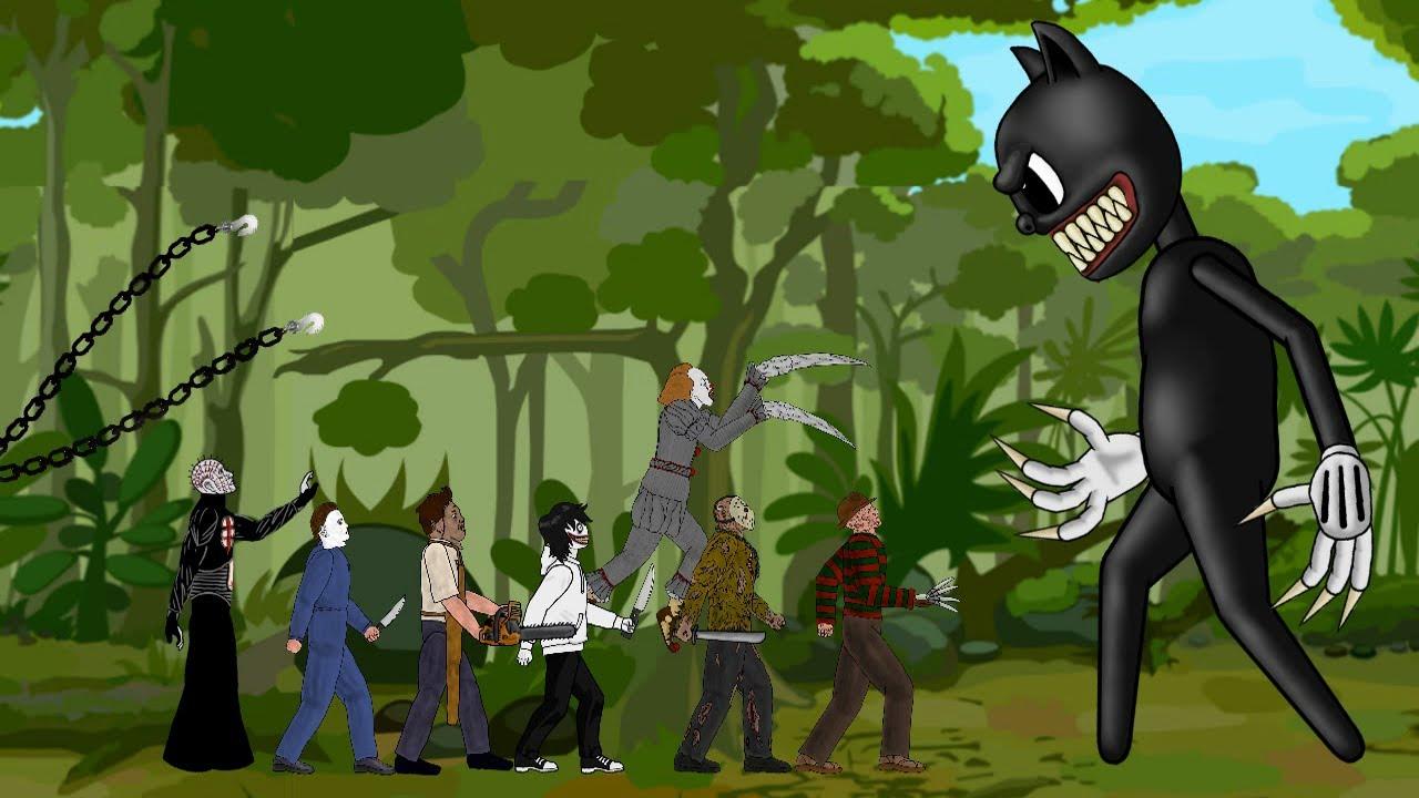 Cartoon Cat vs Jason Voorhees, PIN HEAD, Michael, IT Pennywise, Freddy, Leatherface, Jeff DC2