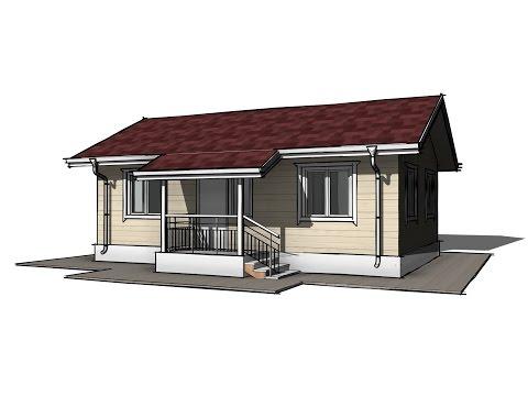 Одноэтажный каркасный дом 6х9 м. Проект КД-34