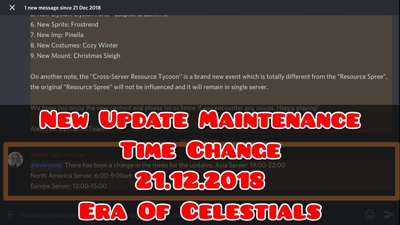 New Update Maintenance Time Change 21.12.2018