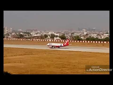 Jaipur International/Domestic Airport & AirAsia plane take-off.