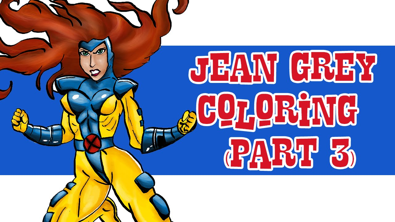 Drawing Time Lapse: Jean Grey (X-Men) - Part 6 - Coloring - YouTube