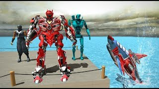 ► Robot Shark vs City Robot helicopter | Real Robot Shark Game Transforming Shark Robot#2
