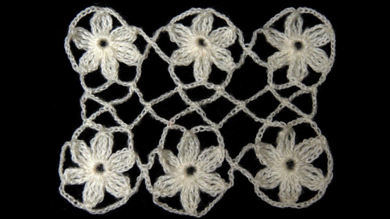 Crochet : Union Motivo Flores Entrelazadas - YouTube