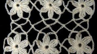 Crochet : Union Motivo Flores Entrelazadas
