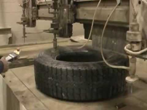 Waterjet Cutting Old Tire For Tire Recycling Youtube