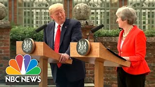 President Donald Trump, Theresa May Laugh Off Brexit Bombshell Interview As 'Fake News' | NBC News
