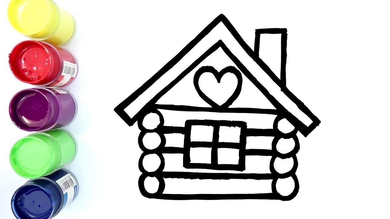 belajar menggambar dan mewarnai rumah kayu