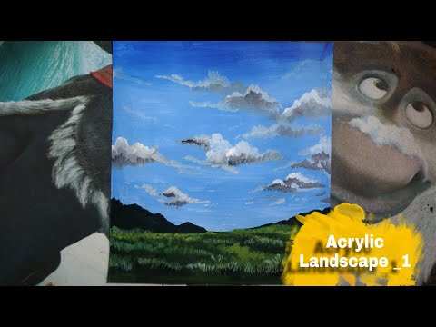 -Acrylic landscape painting | how to draw a easy beautiful scenery drawing ,for beginners | timelapse