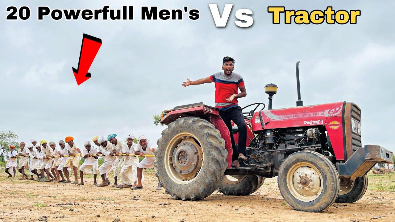 20 Powerfull Men's vs Powerfull Tractor - क्या 20 आदमी ट्रैक्टर को रोक देंगे 🥺 बाल-बाल बचे