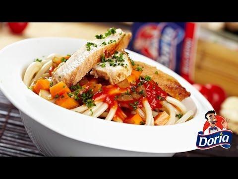 bucatini salsa de tomate y pollo