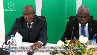 Welcome speech by AfricaRice DG during IFAD President's visit