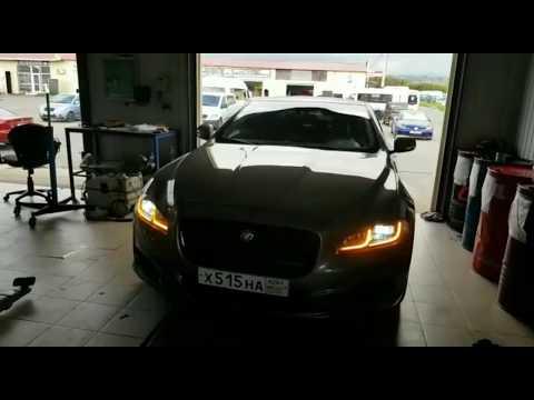 """Установка LED фар на Jaguar в Автосервис""""Quattro""""СТО  Адлер."""