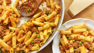 Rigatoni alla Vodka  with Peas and Sausage -  Rossella's Cooking with Nonna