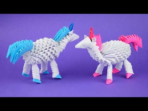 How to make a paper unicorn 3D origami. Tutorial DIY