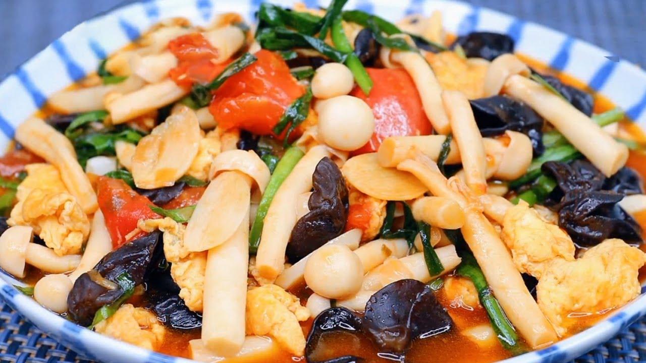 西红柿这海鲜菇鸡蛋这么做,孩子再也不挑食了,简单美味,上桌就扫光!