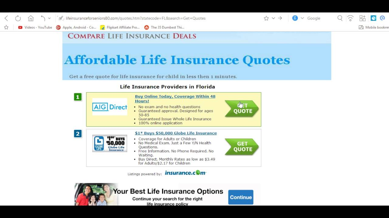 Globe Life Insurance Quote Life Insurance For 85 Year Old Female  Youtube