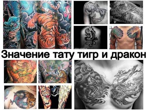 Значение тату тигр и дракон - смысл рисунка и фото примеры для сайта Tattoo-photo.ru
