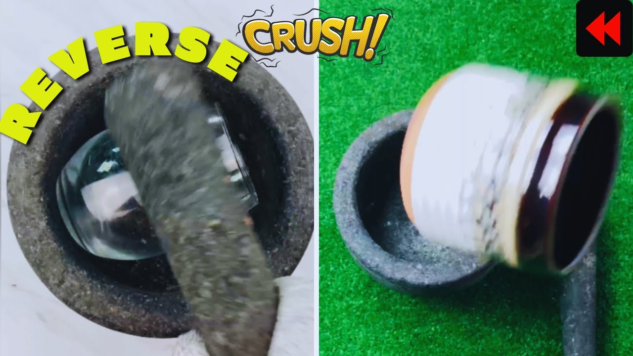 Oddly Satisfying Glass & Pot Crush Video in REVERSE ◀️
