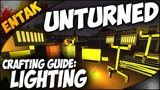 Unturned Crafting Guide ➤ How To Make A Campfire - Tactical Light - Miners Helmet - Brazier & More!