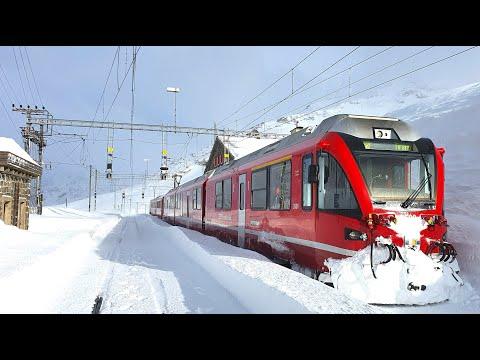 ★ 4K Cab ride St. Moritz - Tirano, fresh snow, strong winds & snowdrifts [03.2020]