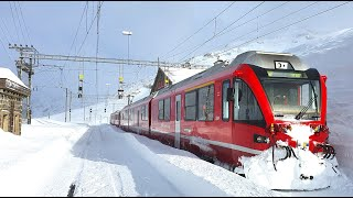 ★ 4K Cab ride St. Moritz - Tirano, fresh snow, strong winds & snowdrifts [03.2020]