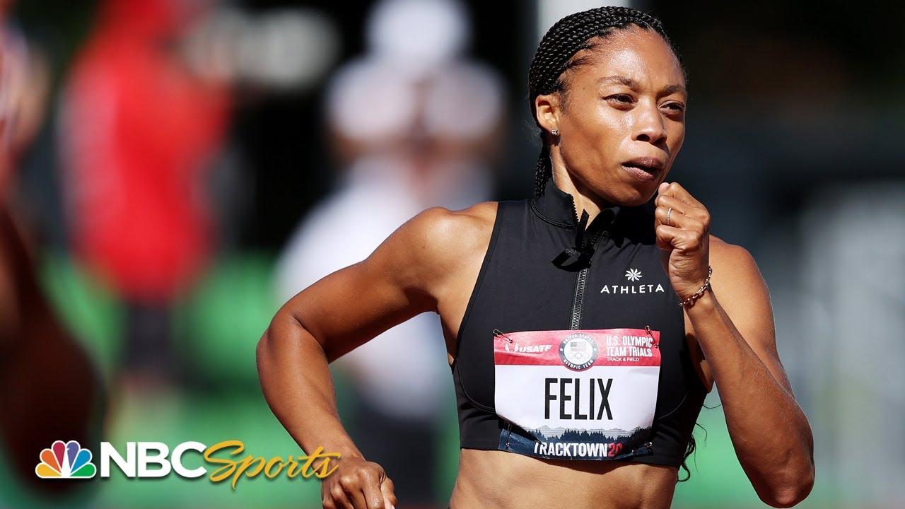 Allyson Felix won the first heat of the women's 400-meter run
