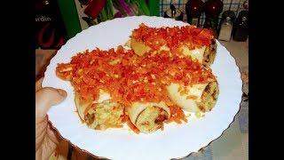 Постное блюдо.Фаршированные кальмары  с рисом ,грибами и овощами.Мое блюдо на Новый год.
