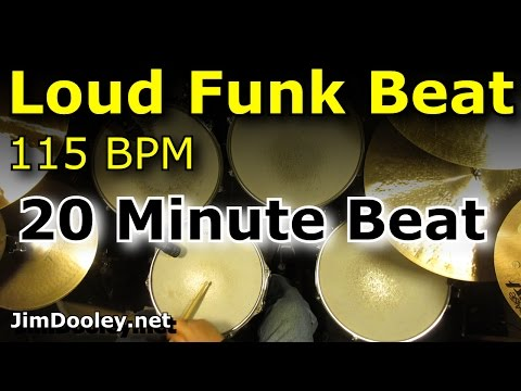 20 Minute Backing Track - Loud Funk Drum Beat 115 BPM