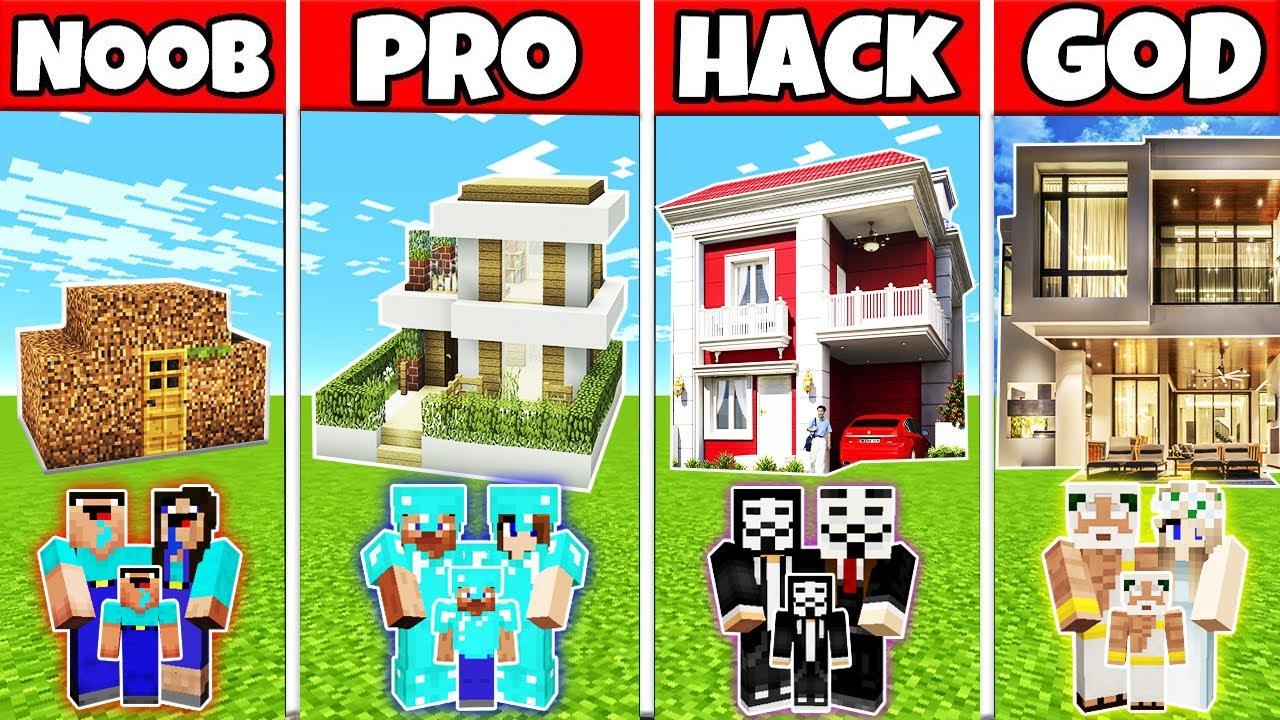 Minecraft: FAMILY EXPENSIVE MODERN MANSION BUILD CHALLENGE - NOOB vs PRO vs HACKER vs GOD