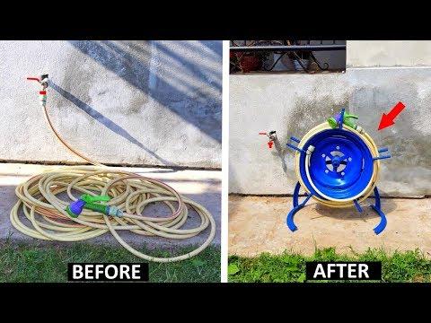 Приспособление для намотки и хранения садового шланга. Самодельная катушка для садового шланга