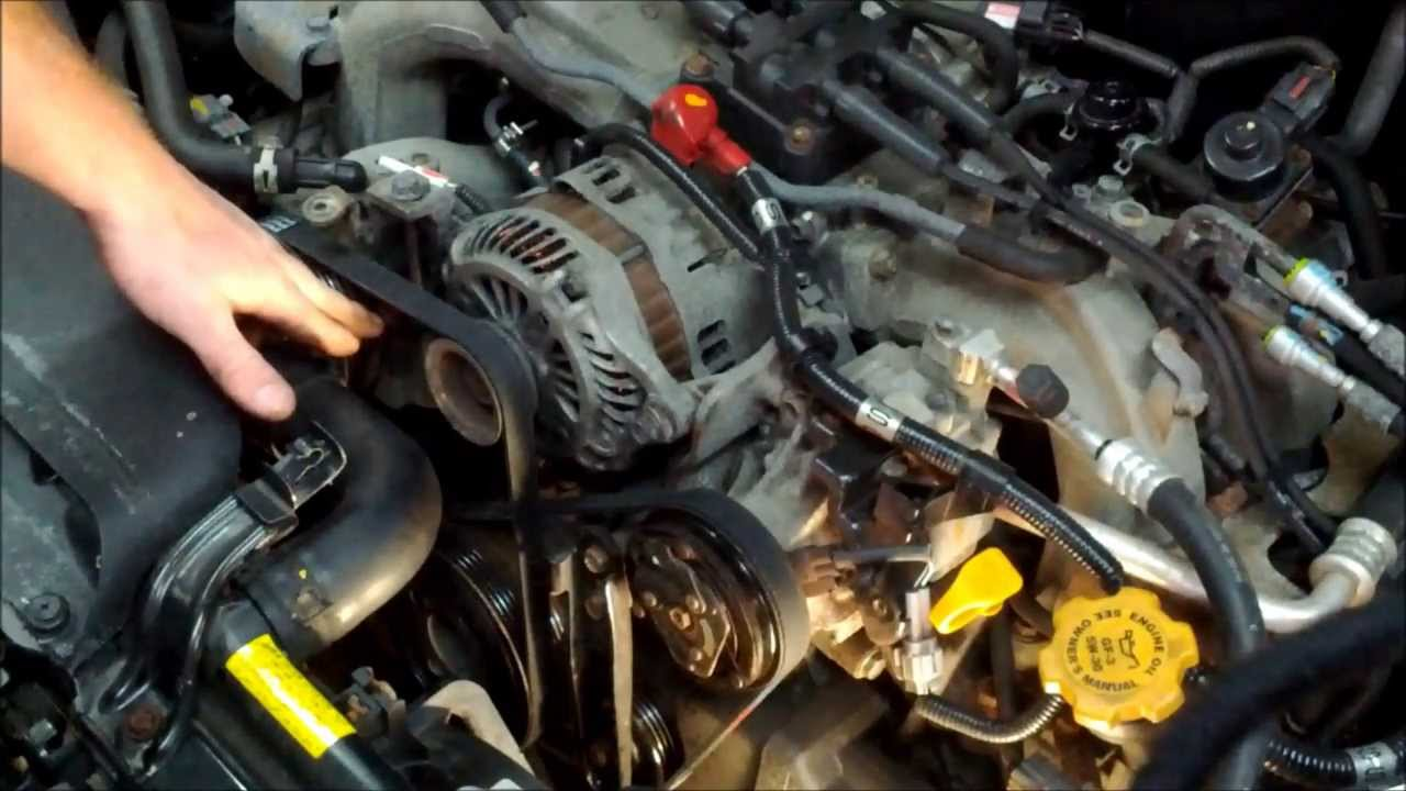 how to replace both subaru drive belts youtube 2007 subaru impreza 2 5i belt diagram 2007 subaru impreza belt diagram [ 1280 x 720 Pixel ]