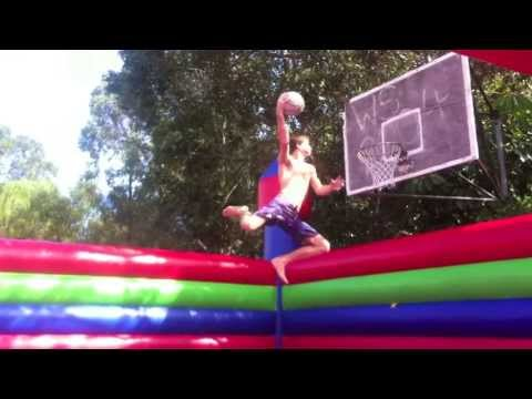 Huge slam dunks from a Jumping Castle - Slam Ball Basketball