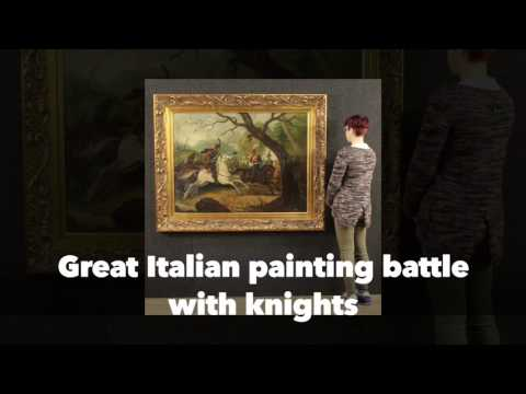 Great Italian painting of the mid-twentieth century. Work oil on canvas depicting battle with knigh