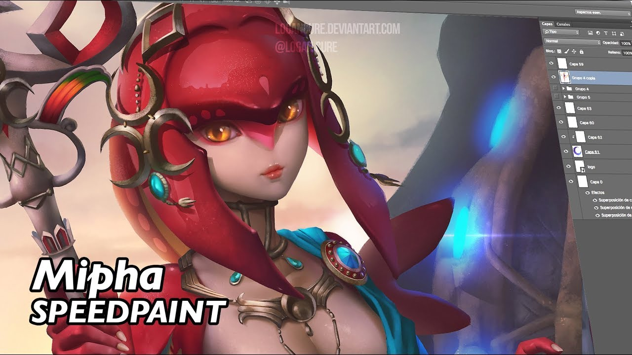 Mipha Zelda Botw Digital Painting Youtube