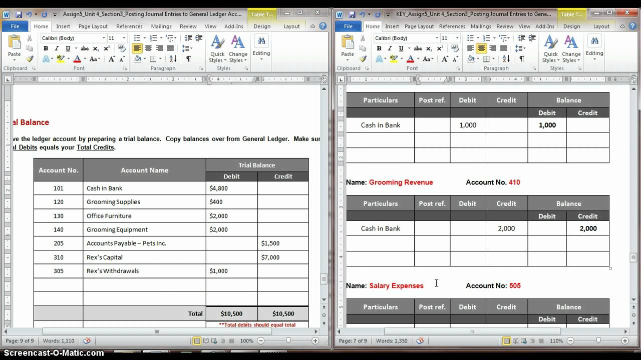 posting journal entries to general ledger account part 3 avi youtube