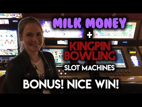 BONUS! Kingpin Bowling Slot Machine! Trophy Challenge NICE WIN!!!