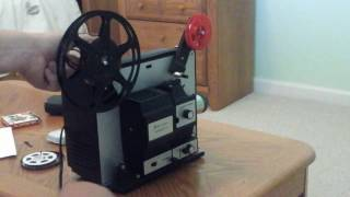 Vintage Bell and Howell filmosound 8 dual 8mm projector demonstration.