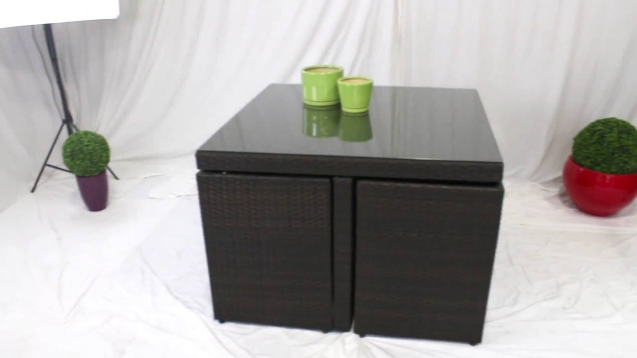 salon de jardin 4 places encastrable youtube. Black Bedroom Furniture Sets. Home Design Ideas