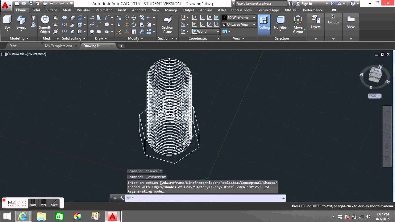 How To Make A Nut and Bolt in AutoCAD 3D