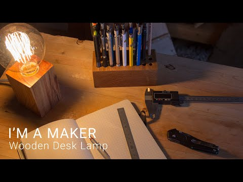 Wooden Desk Lamp With Edison Bulb made with Recycled Oak from Shipping Dunnage | #maker #woodworking